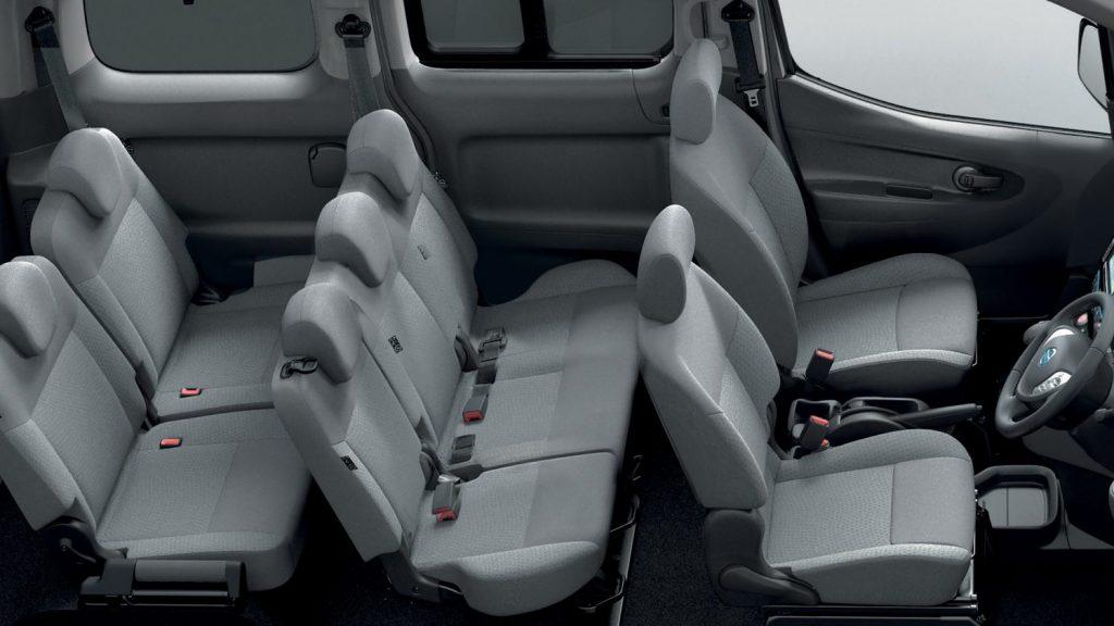 De elektrische Nissan e-NV200 Evalia van 2014 - interieur