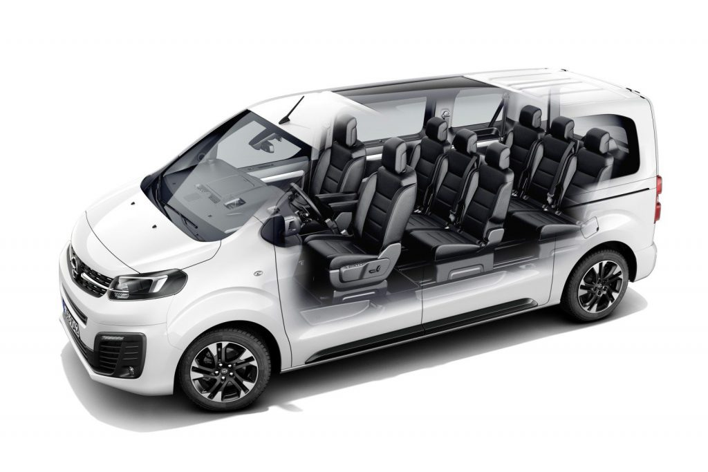 De Opel Zafira Life van 2019 - dwarsdoorsnede