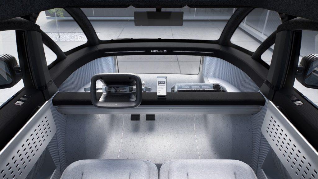 Het futuristische dashboard van de Canoo Lifestyle Vehicle van 2023